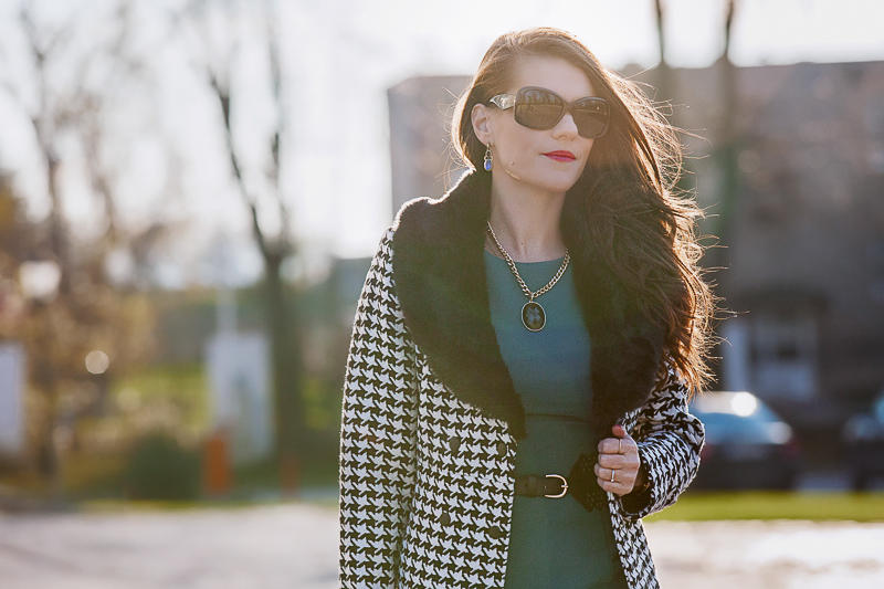 Emerald dress & houndstooth coat