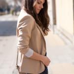 Polka Dot Jeans & Beige Blazer