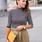 Paperbag Waist Trousers & Stripe Turtleneck