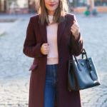 Wine Coat & Prada Handbag
