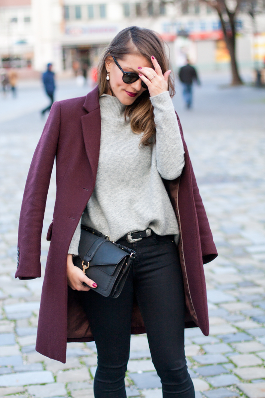 grey jumper and wine coat